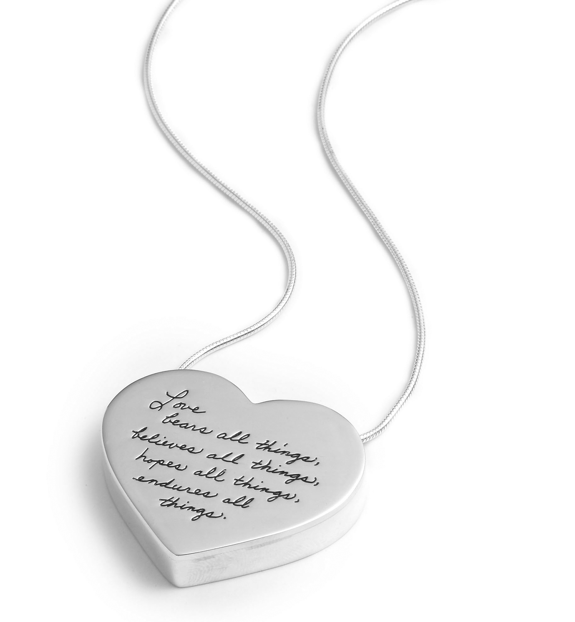 3bf8f45641 Inspirational sterling silver three-dimentional heart pendant with Engraved  Quote: Love bears all things