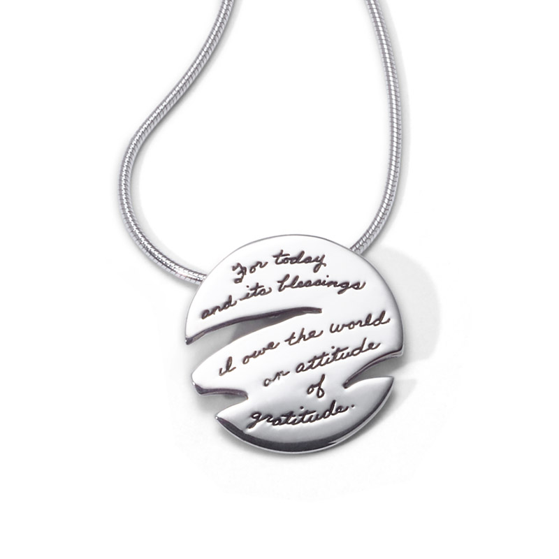 Bb becker inspirational jewelry gratitude necklace bb becker inspirational jewelry pendant with engraved quote for today and its blessings mozeypictures Choice Image
