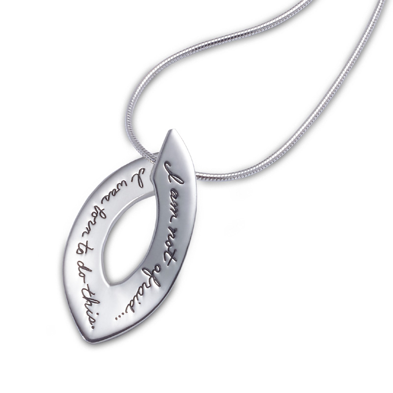 Bb becker inspirational jewelry not afraid necklace sterling bb becker pendant open oval with pointed ends engraved inspirational message i am not mozeypictures Choice Image