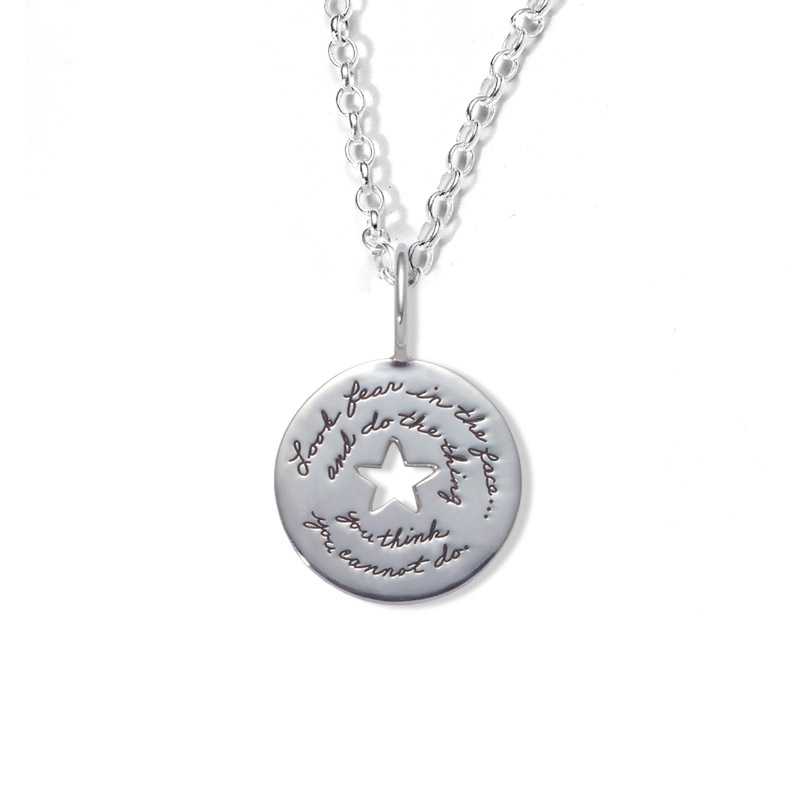 Bb becker inspirational jewelry yes you can pendant sterling circular pendant with star cutout in center has inspirational engraved words look fear in mozeypictures Choice Image