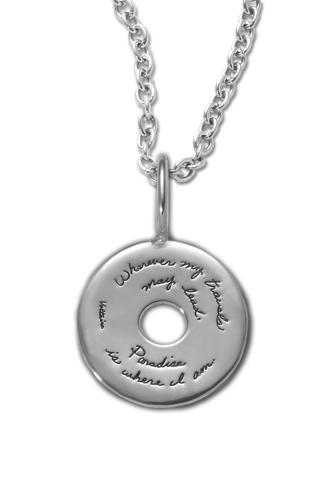 Bb becker inspirational jewelry paradise pendant sterling silver inspirational pendant circle shape with circular cutout in center quote reads wherever my aloadofball Image collections