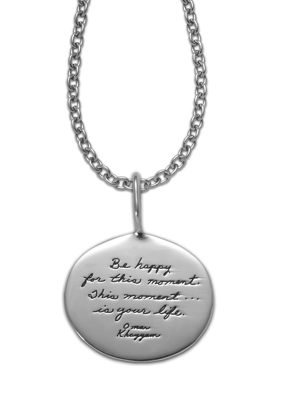 Bb becker inspirational jewelry this moment pendant inspirational sterling silver oval pendant with engraved words be happy for this moment this mozeypictures Choice Image