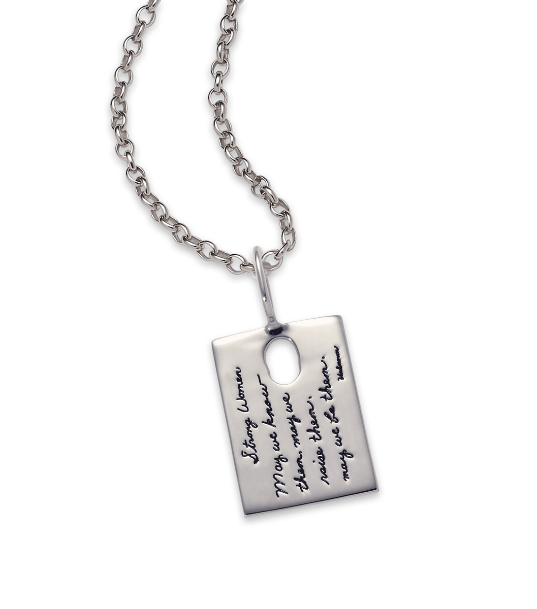 Bb becker inspirational jewelry strong women pendant sterling silver inspirational pendant rectangle shape with a small oval cutout near the top quote reads mozeypictures Choice Image