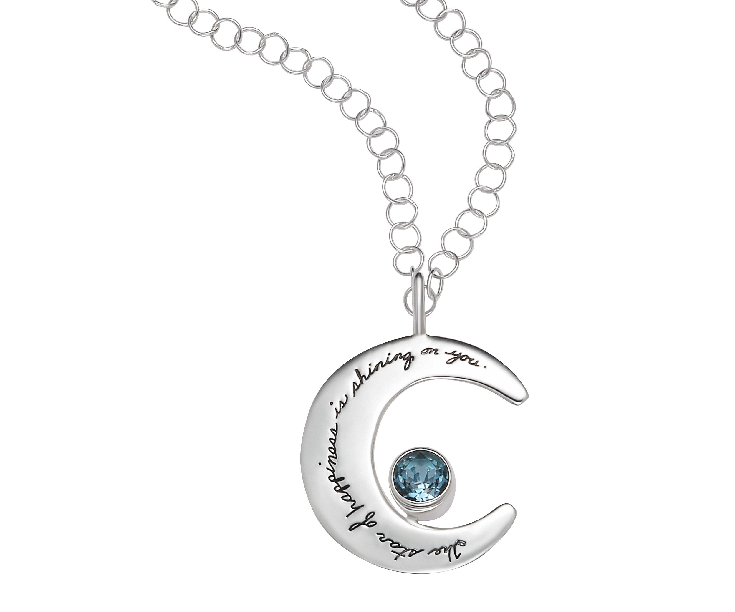 Happiness moon pendant inspirational sterling silver moon shaped necklace 6mm round blue topaz attached engraved quote the star mozeypictures Choice Image
