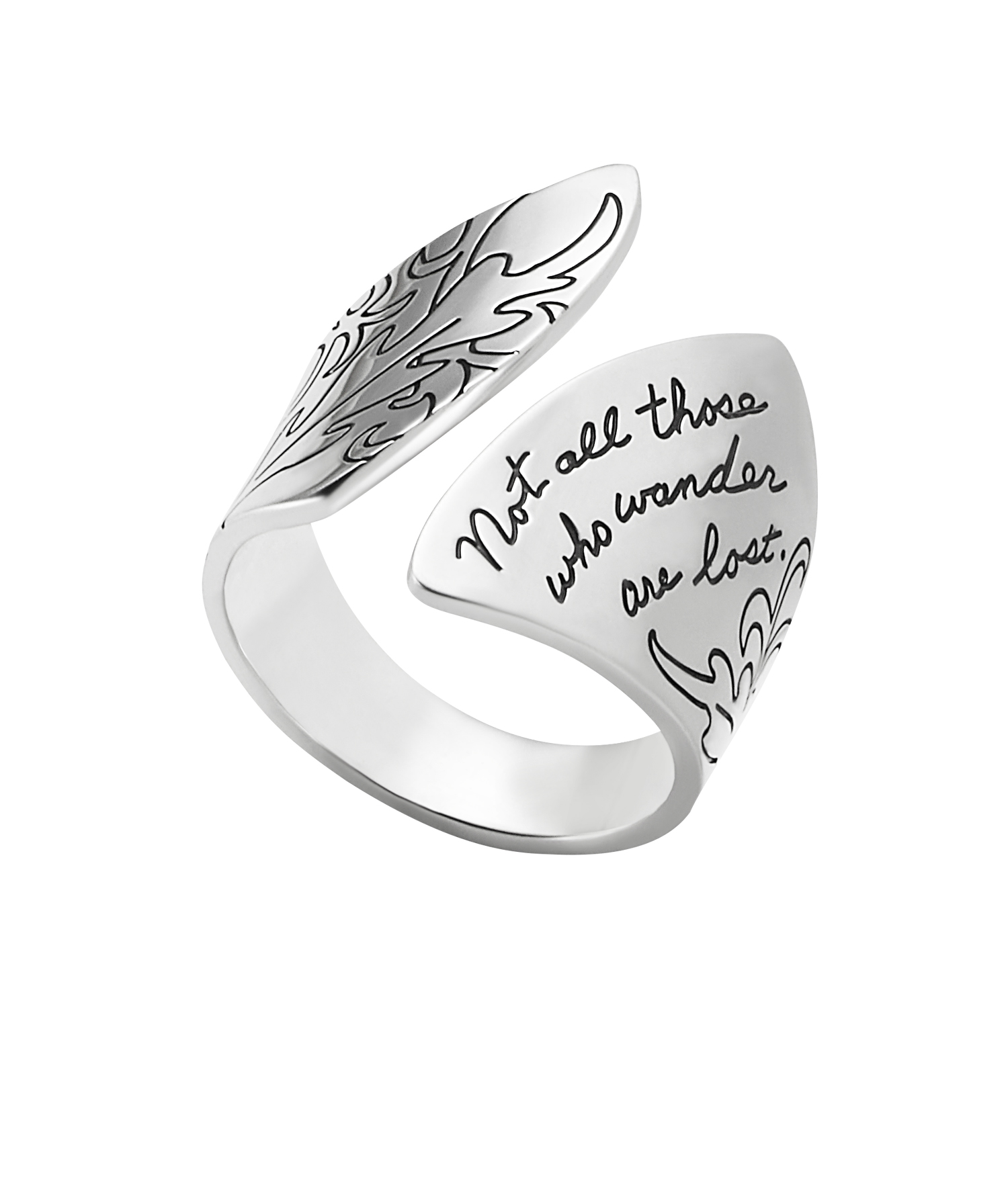 Ring with engraved quote -