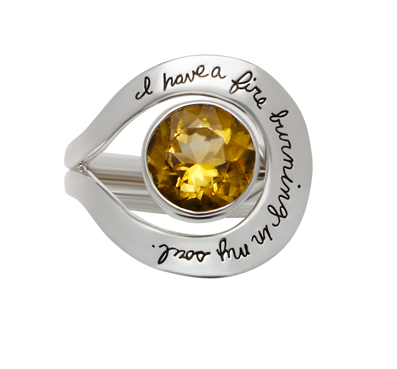 Ring with engraved quote - I have a fire burning in my soul. | BB Becker | Inspirational Jewelry