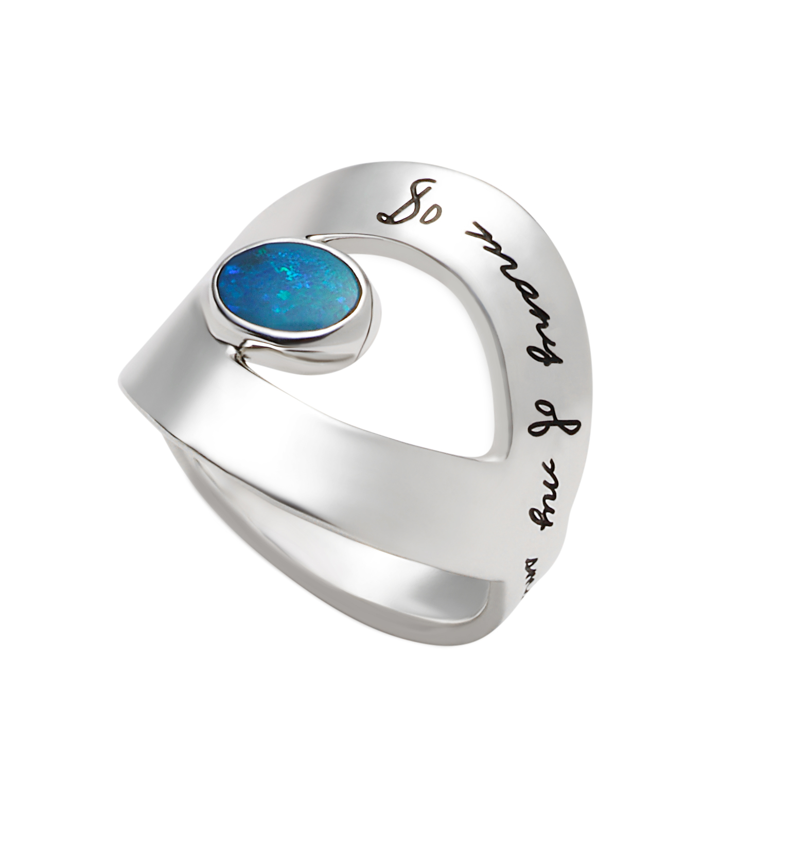 Ring with engraved quote - So many of my smiles begin with you | Inspirational Jewlery | BB Becker