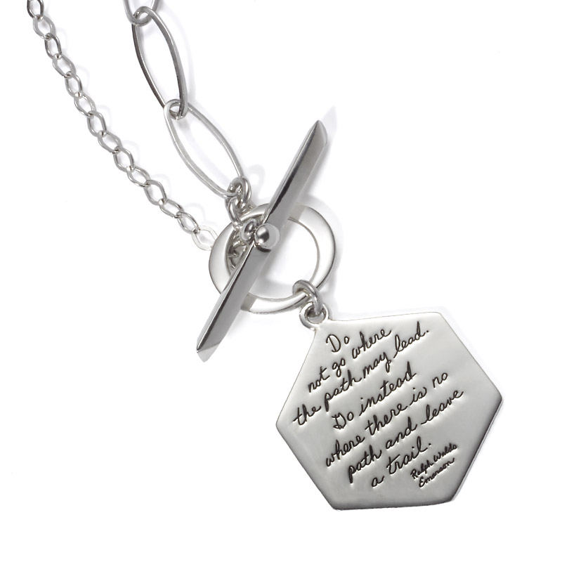Sterling Silver Hexagon Toggle Necklace - Do not go where the path may lead. Go instead where there is no path and leave a trail. ~Ralph Waldo Emerson | BB Becker | Inspirational Jewelry