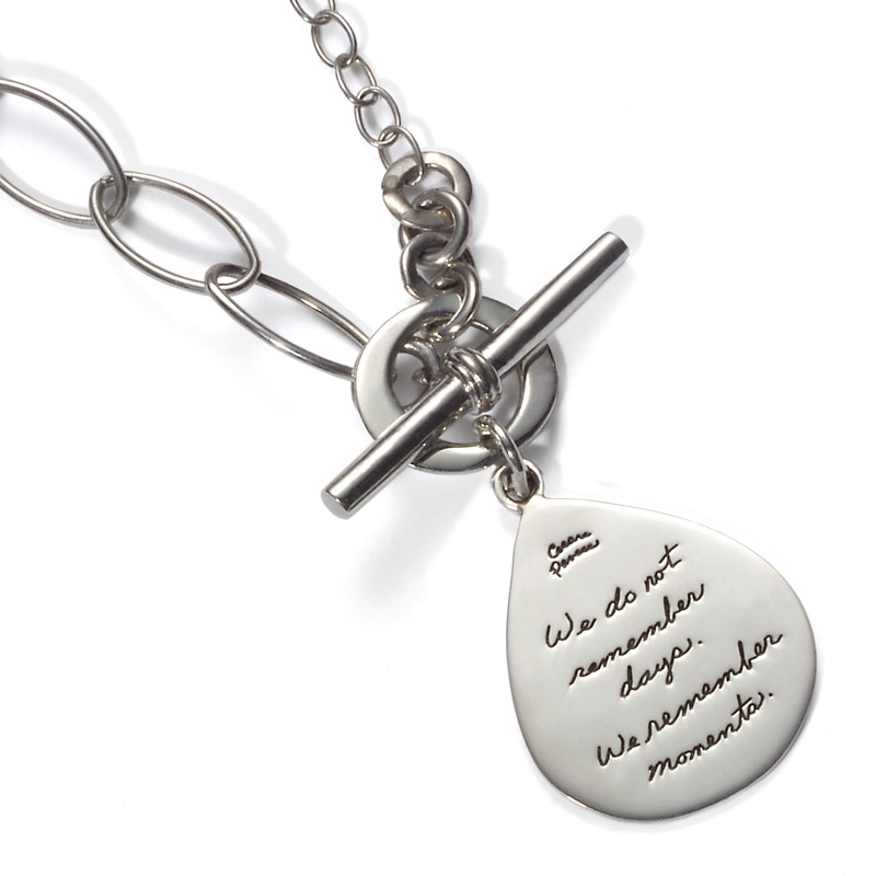 Necklace with engraved quote - We do not remember days. We remember moments. ~Cesare Pavese | BB Becker | Inspirational Jewelry
