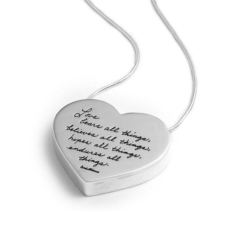 Pendant with Engraved Quote - Love bears all things, believes all things, hopes all things, endures all things. ~Corinthians | BB Becker| Inspirational Jewelry