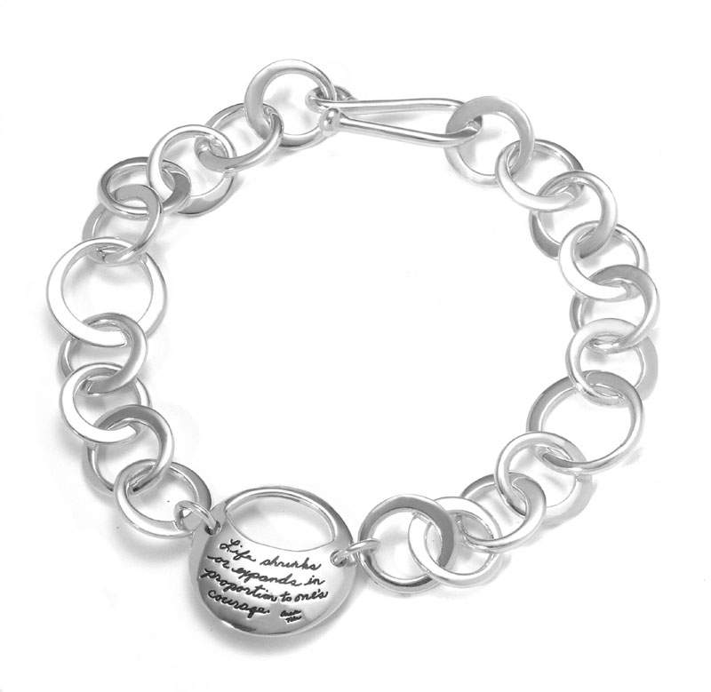 Sterling Silver Moon Bracelet - Life shrinks or expands in proportion to one's courage. ~Anais Nin | BB Becker | Inspirational Jewelry