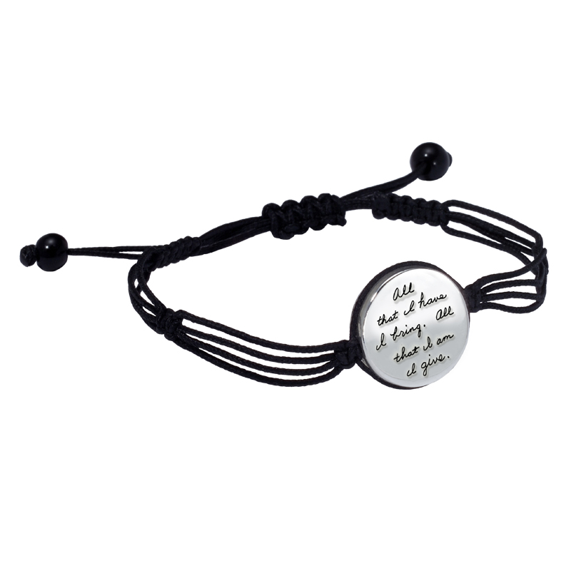 Inspirational Jewelry | Bracelet with engraved quote -  All that I have, I bring. All that I am, I give. ~Christina Rossetti | BB Becker