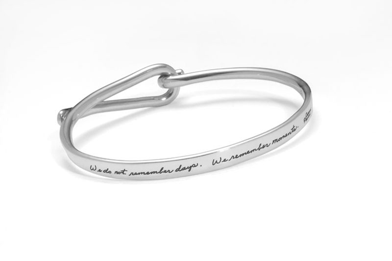 Bracelet with engraved quote - We do not remember days. We remember moments. ~Cesare Pavese | BB Becker| Inspirational Jewelry