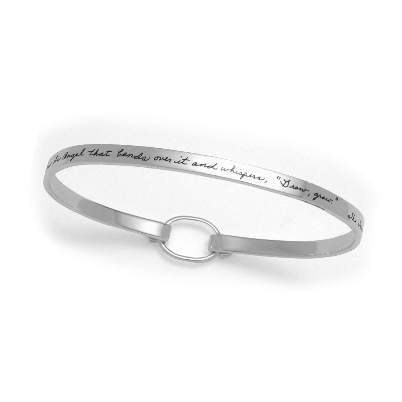 Bracelet with engraved quote - Every blade of grass has its Angel that bends over it and whispers, | BB Becker | Inspirational Jewelry