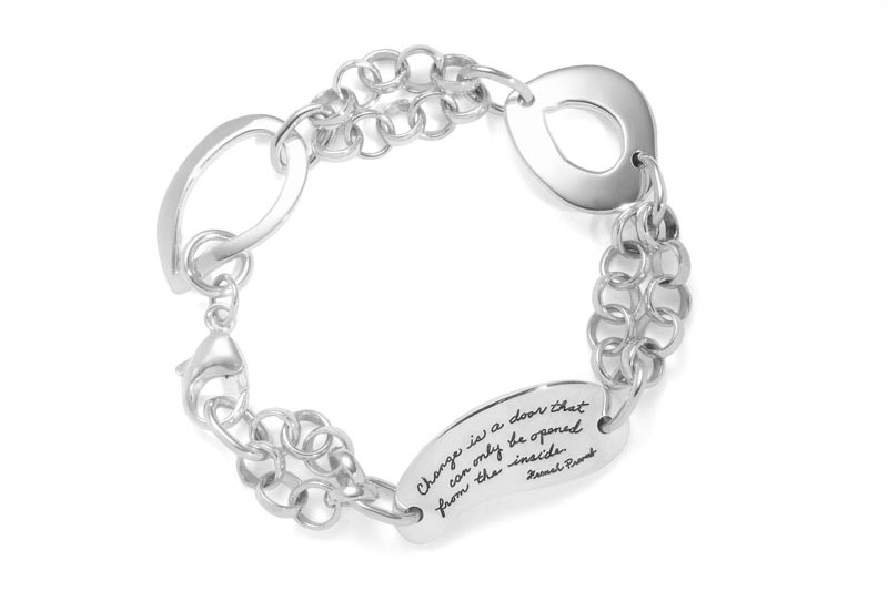 Inspirational Jewelry | Bracelet with engraved quote - Change is a door that can only be opened from the inside. ~Old French Proverb | BB Becker