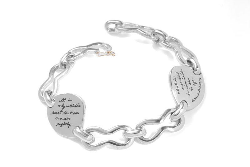 Bracelet with engraved quote - It is only with the heart that one can see rightly; what is essential is invisible to the eye. ~Antoine de Saint-Exupery | BB Becker | Inspirational Jewelry