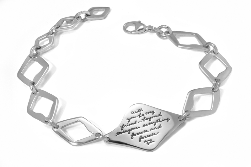 Bracelet engraved with quote - Will you be my friend...beyond everyone, everything, forever and forever. ~Henry James | Inspirational Jewelry