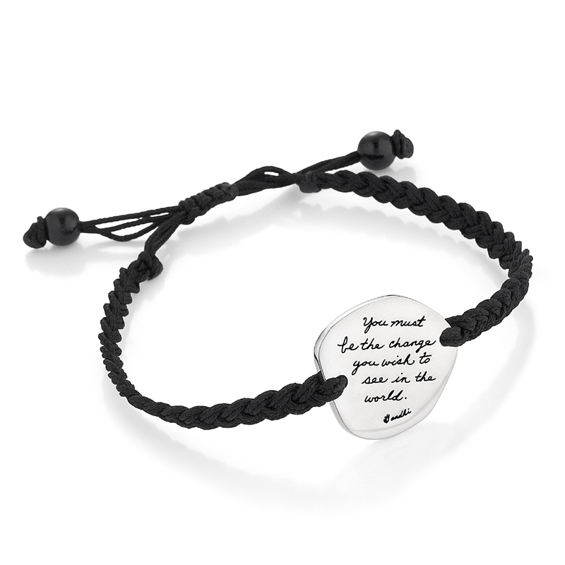 Bracelet with engraved quote - You must be the change you wish to see in the world. ~Gandhi | Inspirational Jewelry