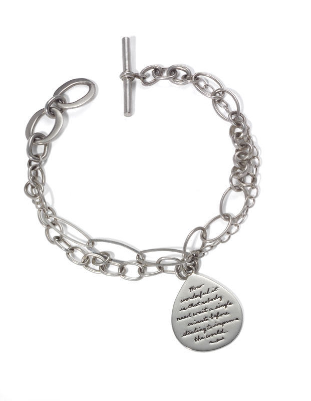 Bracelet with engraved quote - How wonderful it is that nobody need wait a single minute before starting to improve the world. ~Anne Frank | BB Becker | Inspirational Jewelry