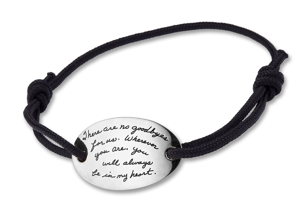 Bracelet with inscribed quote -