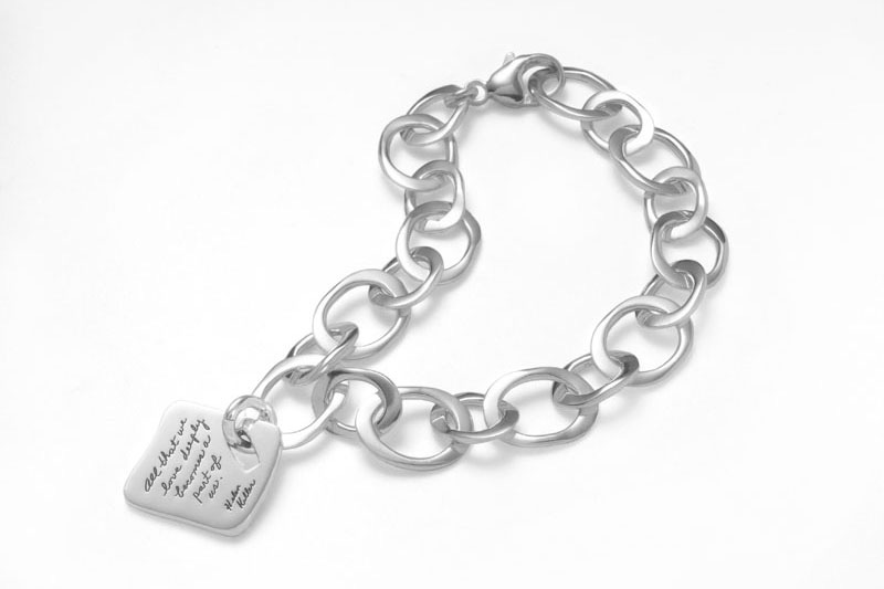 Bracelet with engraved quote - All that we love deeply becomes a part of us. ~Helen Keller | BB Becker | Inspirational Jewelry