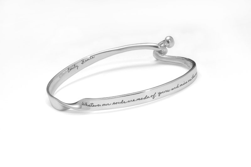 Bracelet with engraved quote  - Whatever our souls are made of, yours and mine are the same. ~Emily Bronte | BB Becker | Inspirational Jewelry