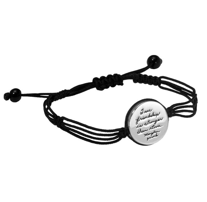 Inspirational Jewelry |  Bracelet with engraved quote - True friendship is stronger than stone | BB Becker