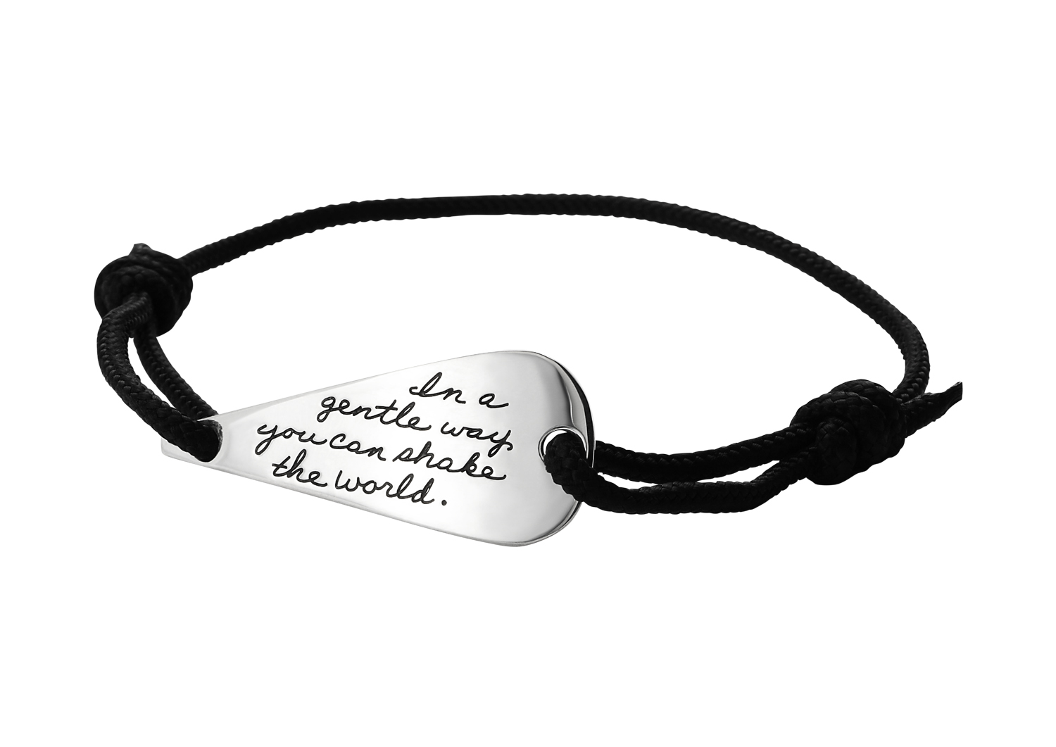 Wrist cord with engraved quote - In a gentle way you can shake the world. | BB Becker | Inspirational Jewelry