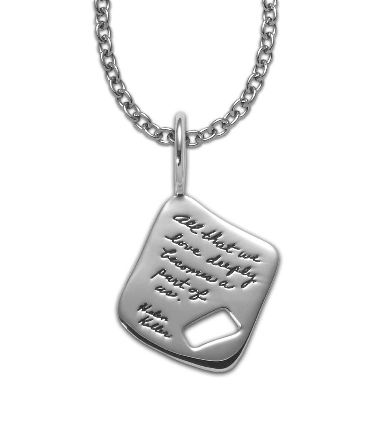Necklace with inscribed quote - All that we love deeply becomes a part of us. ~Helen Keller | BB Becker | Inspirational Jewelry