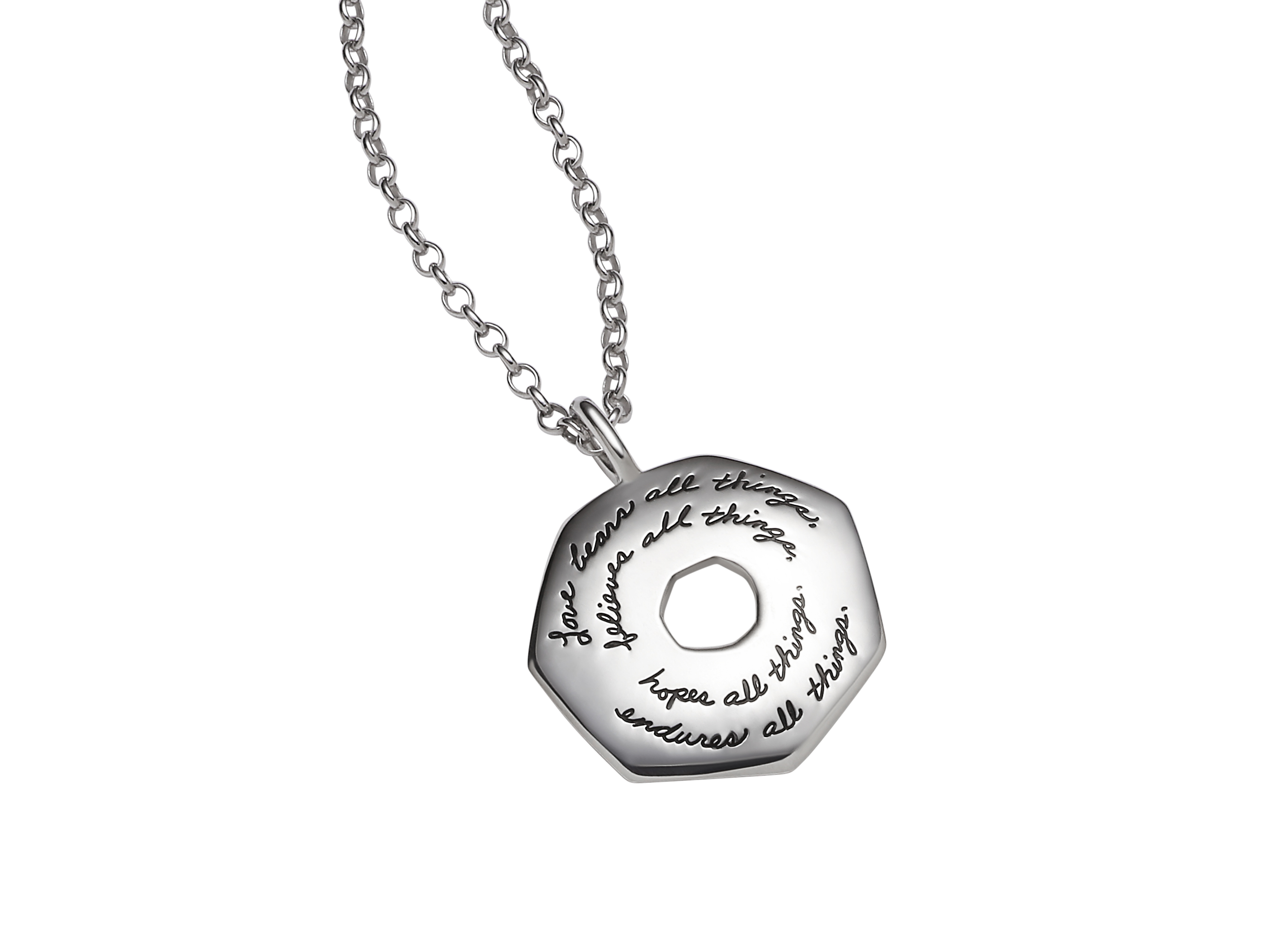 Necklace with engraved quote - Love bears all things, believes all things, hopes all things, endures all things. ~Corinthians | BB Becker | Inspirational Jewelry
