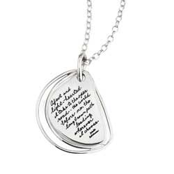 Pendant with engraved quote - Afoot and light-hearted I take to the open road...the world before me, the long brown path leading wherever I choose. ~Walt Whitman | BB Becker| Inspirational Jewelry