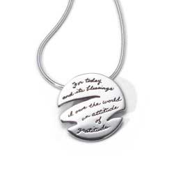 BB Becker| Inspirational Jewelry | Pendant with Engraved Quote - For today and its blessings I owe the world an attitude of gratitude. ~Clarence E. Hodges