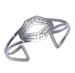 Bracelet with engraved quote - And the song from beginning to end, I found again in the heart of a friend. ~Longfellow | BB Becker | Inspirational Jewelry