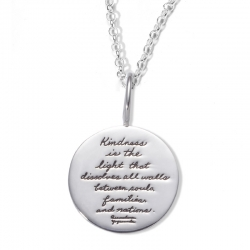 Necklace with inscribed quote - Kindness is the light that dissolves all walls between souls, families and nations. ~Paramahansa Yogananda | BB Becker | Inspirational Jewelry