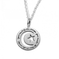 Necklace with engraved quote -